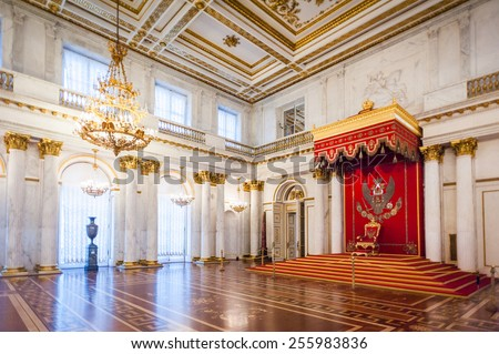 SAINT PETERSBURG, RUSSIA - FEB 24, 2015: Trone hall in the State Hermitage, a museum of art and culture in Saint Petersburg, Russia. It was founded in 1764 by Catherine the Great