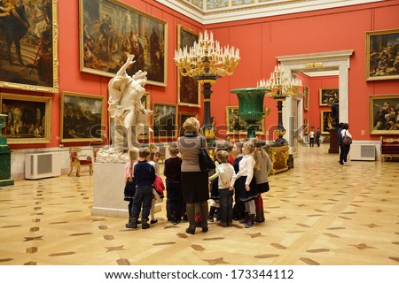SAINT-PETERSBURG,RUSSIA-JANUARY 22: State Hermitage is museum of art and culture on January 22,2014 in Saint Petersburg,Russia. One of oldest museums in world,it was founded in 1764 by Catherine Great - stock photo