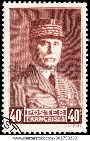SAINT-PETERSBURG, RUSSIA - JULY 14, 2015: A stamp printed by FRANCE shows image portrait of Henri Philippe Benoni Omer Joseph Petain, generally known as Marshal Petain, circa February, 1941 - stock photo