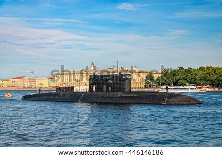 Saint Petersburg, Russia, July 26, 2015. A submarine moored against University embankment at the Russian Navy Day. Shot from Admiralty embankment.