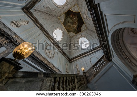 Saint-Petersburg, RUSSIA - July 16, 2015. The main staircase of the marble palace on Jul 16, 2015 in Saint-Petersburg.