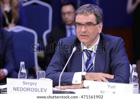 SAINT-PETERSBURG, RUSSIA - JUN 17, 2016: St. Petersburg International Economic Forum SPIEF-2016. Sergey Nedoroslev, Chairman of the Board, Kaskol Group