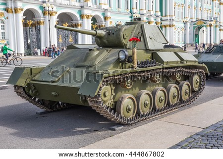 SAINT-PETERSBURG, RUSSIA - JUNE 22, 2016: Easy Soviet T-70 tank of times of World War II on the military-patriotic action, dedicated to the Day of Memory and Grief on Palace Square