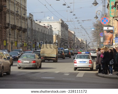 SAINT PETERSBURG, RUSSIA - MARCH 24: View of the Nevsky Prospect street on March 24, 2014 in Saint Petersburg, Russia.