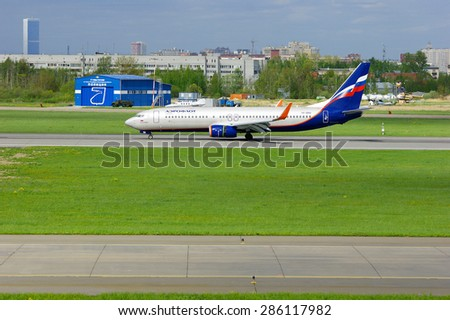 SAINT-PETERSBURG, RUSSIA - MAY 23, 2015.  Aeroflot Russian Airlines Boeing 737-8LJ aircraft (registration number VP-BRH) rides on the runway after landing in Pulkovo International airport