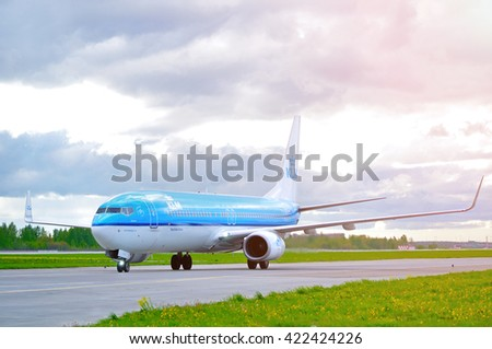 SAINT PETERSBURG, RUSSIA-MAY 11,2016. KLM Royal Dutch Airlines Boeing 737 Next Gen airplane-registration number PH-BXT. Airplane rides on the runway after arriving at Pulkovo International airport