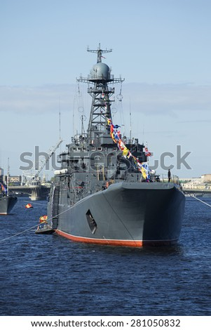 "SAINT PETERSBURG, RUSSIA - MAY 09, 2015: Large landing ship ""Korolev""  in the parade in honor of Victory Day"