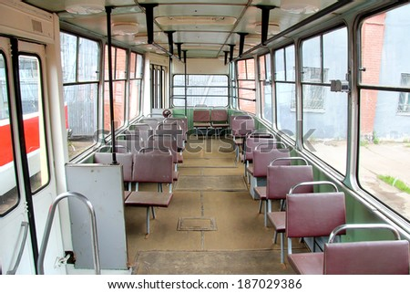 SAINT PETERSBURG, RUSSIA - MAY 26, 2013: Vintage russian tramway LM-68M interior presented at the Retro Urban Transport Parade.