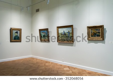 SAINT PETERSBURG, RUSSIA - OCTOBER 01, 2015: Hall with Impressionist paintings Vincent van Gogh at the Museum of the General Staff (branch of the State Hermitage)