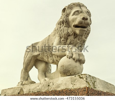 Saint Petersburg, Russia. The lion statue on the western bank of the Yelagin Island. The view from the foot.