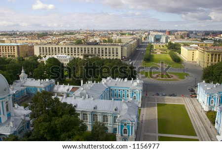 Saint-Petersburg, view from the roof of Smolny sobor - stock photo