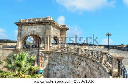 Saint Remy bastion under a blue sky. Shot in Cagliari, Italy. - stock photo