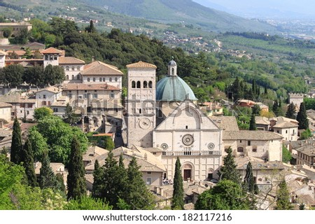 Saint Rufino Cathedral in Assisi, Italy - stock photo
