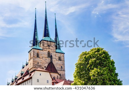 Saint Severi church in the historic city center of Erfurt, Germany