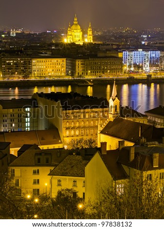 Saint Stephen basilica night view, Budapest, Hungary - stock photo