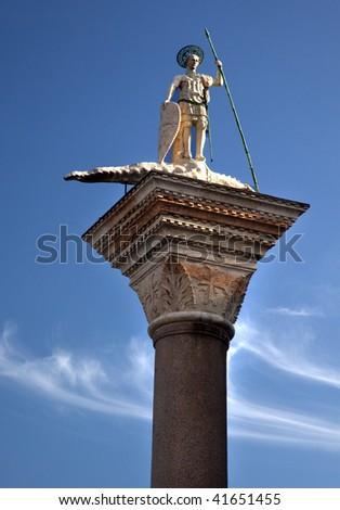Saint Theodore Killing Crocodile Column 12th Century Originally from Constantinople Venice Italy - stock photo