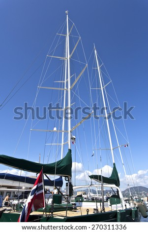 SAINT TROPEZ, FRANCE - SEPTEMBER 11, 2014: Luxury yacht moored at the yacht club - stock photo