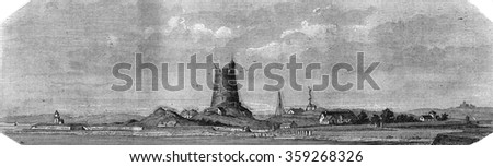Saint Vaast La Hougue, Manche, Fort la Hougue, vintage engraved illustration. Magasin Pittoresque 1880.