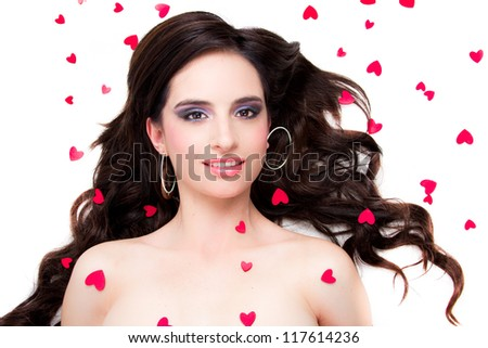 Saint Valentine day woman with hearts - stock photo