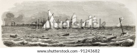 Saint-Valery-sur-Somme sea race old illustration. Created by Godefroy-Durand after Gorin, published on L'Illustration, Journal Universel, Paris, 1858 - stock photo