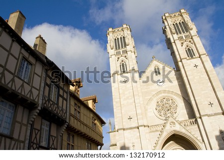 Saint Vincent cathedral of Chalon sur Saone, Burgundy, France. - stock photo