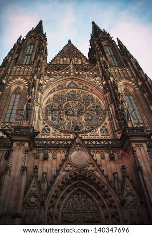 Saint Vitus Cathedral in Prague - stock photo