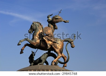 Sainted George, coat of arms of Moscow, defence, rider - stock photo