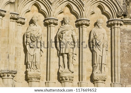 Saints Alphege, Edmund the Martyr and Thomas of Canterbury statues at Salisbury Cathedral, Wiltshire. The statues were sculpted by James Redfern in 1867 and have been on public display ever since.