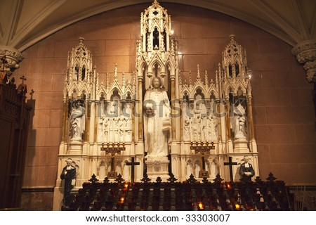 Saints Shrine Statues Candles Saint Patrick's Cathedral New York - stock photo