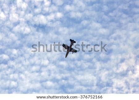 SAKHIR AIRBASE, BAHRAIN - JANUARY 23: Flying display and aerobatic show of The Al Fursan UAE display team in Bahrain International Airshow at Sakhir Airbase, Bahrain on 23 January, 2016  - stock photo