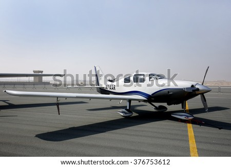 SAKHIR AIRBASE, BAHRAIN - JANUARY 21: Static display  of Cessna 400 (A7-AAR) aircraft in Bahrain International Airshow at Sakhir Airbase, Bahrain on 21 January, 2016