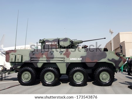 SAKHIR AIRBASE, BAHRAIN - JANUARY 16: Static display of Otokar Arma 8x48 in Bahrain International Airshow at Sakhir Airbase, Bahrain on 16 January, 2014