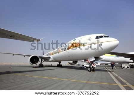 SAKHIR AIRBASE, BAHRAIN - JANUARY 21: Static display of Saudi gulf airlines A320 with carpeted entrance in Bahrain International Airshow at Sakhir Airbase, Bahrain on 21 January, 2016