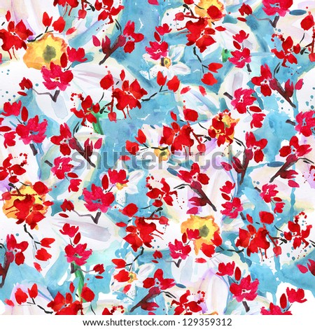 sakura and narcissus  flowers. pattern watercolor - stock photo