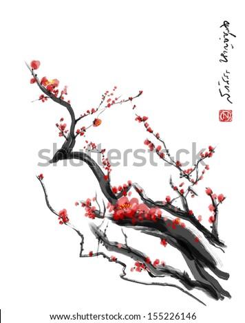 Sakura, cherry blossom plum chinese brush paintingRed cherry blossom chinese brush painting - stock photo