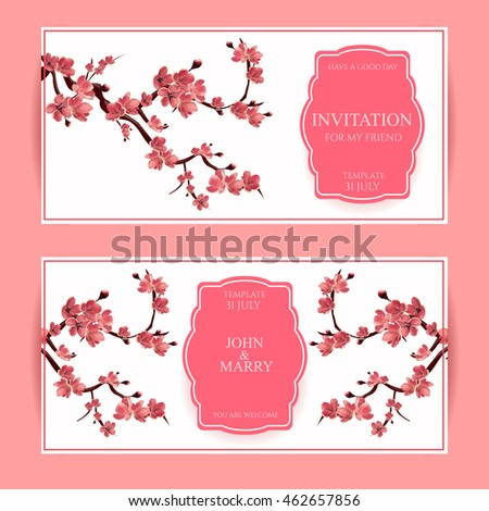 Sakura, Cherry Blossoming Tree Card Illustration. Set of Beautiful Floral Banners, Greeting cards, Wedding Invitations, Backdrops, Backgrounds, Vouchers .