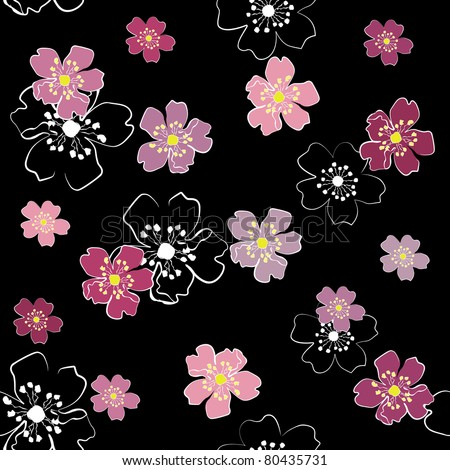 Sakura flowers on black background (seamless) jpg