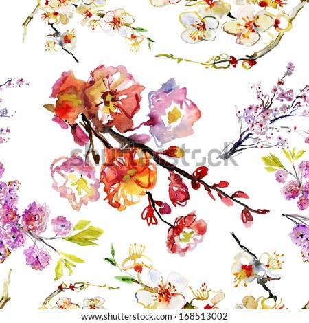 sakura flowers. seamless pattern - stock photo