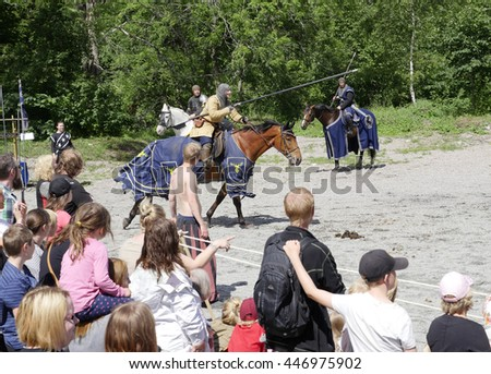 SALA, SWEDEN - JUNE 5: Unidentified people in the days of the silver mine celebration parade with knight  on horse on June 5, 2016 in Sala Sweden - stock photo