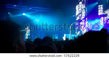 SALACGRIVA, LATVIA - JULY 17 : Group MUSE performs onstage at Positivus Festival 2010 July 17, 2010 in Salacgriva, LATVIA