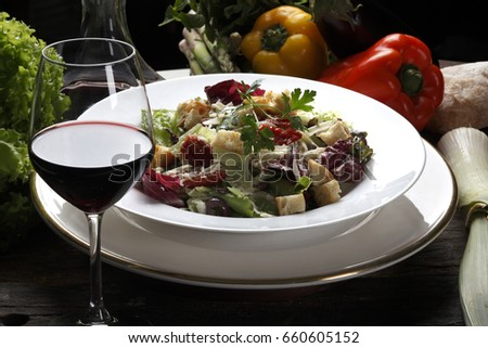 Salad and red wine