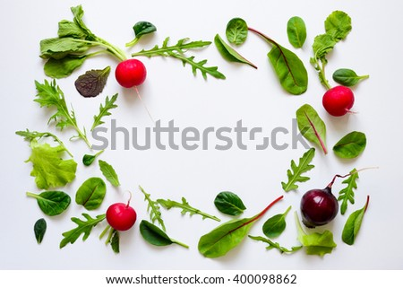 Salad baby leaves and radishes background with blank space in the center - stock photo