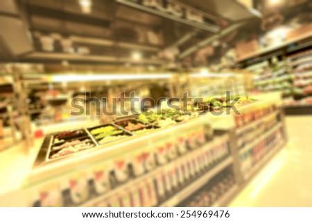 salad bar, blurred image background - stock photo