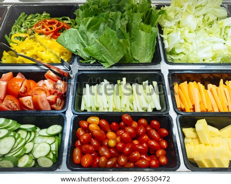 Salad Bar Fresh Vegetables sliced Top view Tomato Carrot Celery Cucumber Cherry tomato Sweet pepper - stock photo