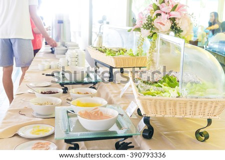 Salad Bar in breakfast meal with Fresh Vegetables sliced Tomato Carrot Celery Cucumber Cherry tomato - stock photo