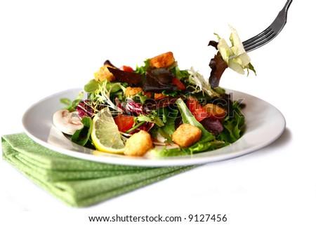 Salad Being Eaten - stock photo