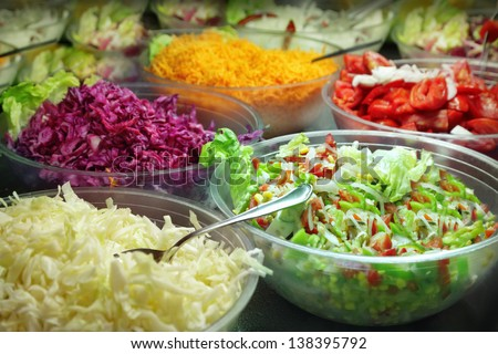 Salad buffet - stock photo