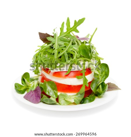 Salad caprese isolated on white