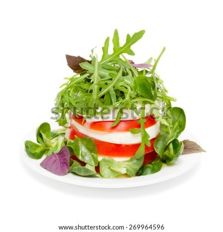 Salad caprese isolated on white - stock photo