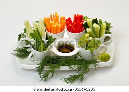 Salad fresh vegetable and spices, herbs and spices isolated on white background. - stock photo